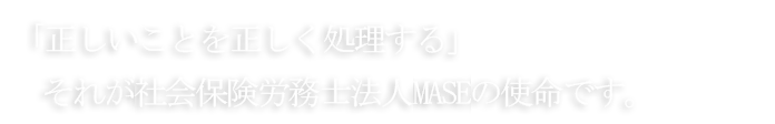 「正しいことを正しく処理する」それが社会保険労務士法人MASEの使命です。